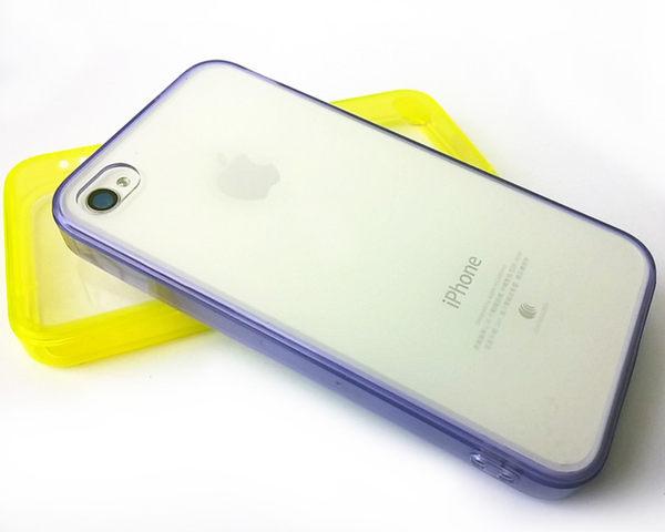 ☆蘋果 iphone4 糖果色 自帶防塵塞 矽膠 軟邊透明殼 iphone4S 果凍套 清水套 透明保護殼 【清倉】