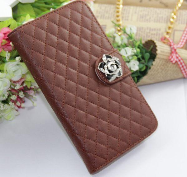 ☆三星N7100 Galaxy Note 2保護套 山茶花菱格水鑽皮套 手機皮套N7108 N7102側翻插卡保護套【清倉】