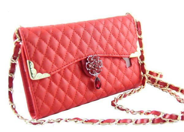 三星N7100 保護套 菱格鑽石錢包款皮套 N7102 N719鏈條跨肩式手機套 保護殼【預購】