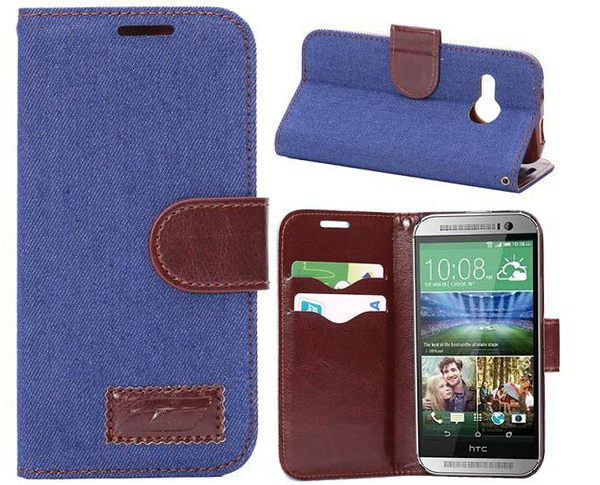 HTC One Mini 2 (M8 mini/小M8) 保護套 牛仔布紋支架插卡皮套 宏達電M8 mini側翻手機保護殼【預購】