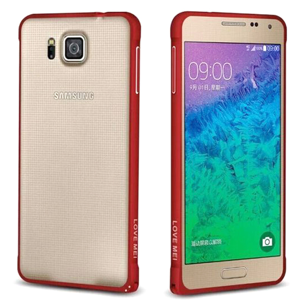 三星Galaxy Alpha G8508S 保護殼LOVE MEI 金屬免螺絲海馬扣邊框 Samsung G8509V G850 手機殼