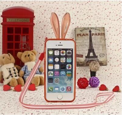 蘋果iPhone6 4.7吋手機邊框 SJ0001水晶兔子軟邊框帶掛繩 iPhone 6可愛兔耳朵邊框 矽膠套