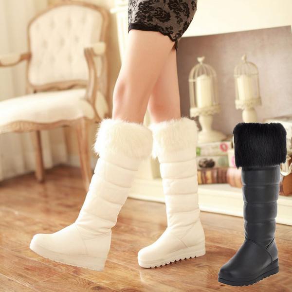 加厚平底及膝厚底高筒靴中長靴冬靴雪地靴女靴子-黑/白34-42【no-42101073989】