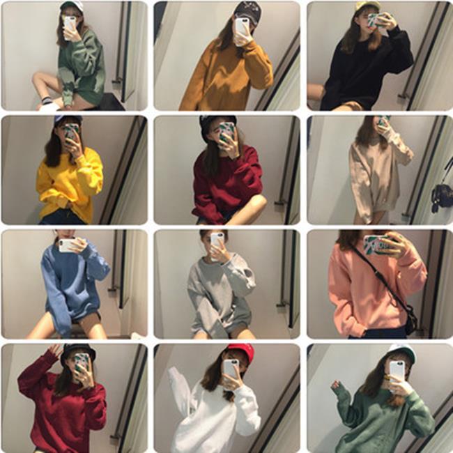 50%OFF【G019657C】總能選到喜歡的基本抓絨十色衛衣情侶款閨蜜裝大學T