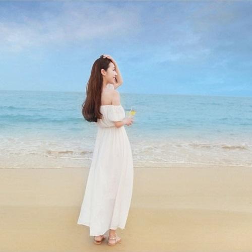 PS Mall 夏季一字領短袖波西米亞沙灘裙海邊度假長裙連身裙 洋裝【T1826】