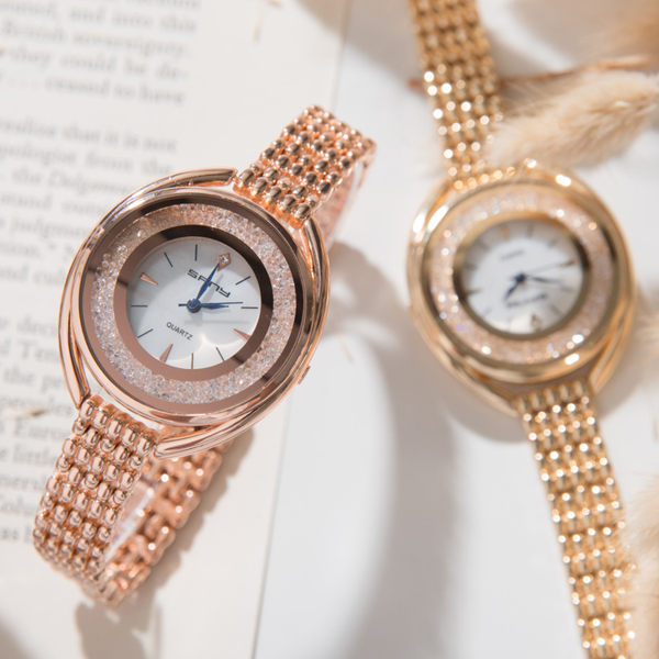 《好時光》手錶 施華洛風格   奢華滑動晶鑽 珍珠貝殼面 細錶帶設計  時尚女錶 SFNY 手鍊錶