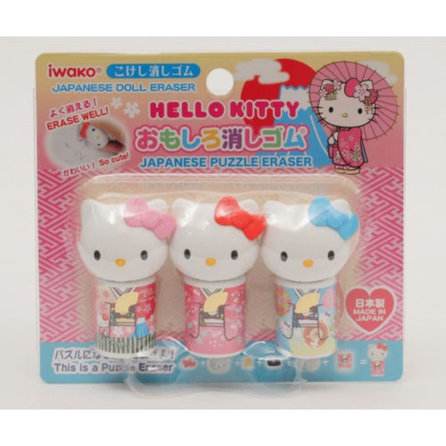日本 IWAKO Hello Kitty和服造型組合式橡皮擦限定版