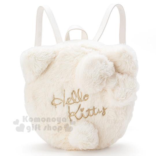 〔小禮堂〕Hello Kitty 造型絨毛後背包《小.白.LOGO.立體耳朵》時尚秋冬包款系列
