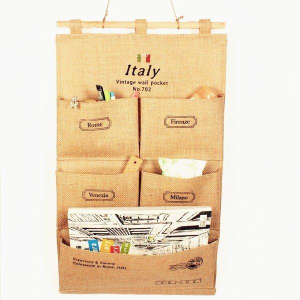 《愛鴨咖啡》5格收納袋 麻布收納袋 牆上掛袋 多層收納袋 門後掛袋壁 掛袋牆 掛袋 儲物袋