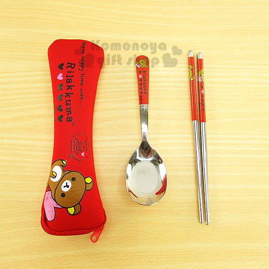 〔小禮堂〕懶懶熊 不?袗?匙筷餐具組《紅.躺姿.愛心》潛水布收納套