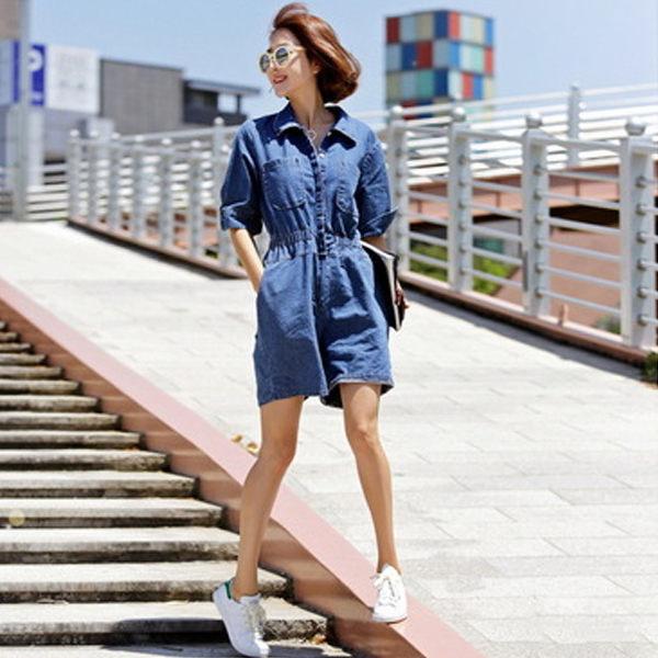 PS Mall 復古磨破翻領排釦牛仔連身褲 牛仔褲【T502】