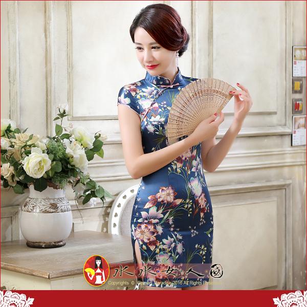 【水水女人國】~特價499元~平價旗袍風~花藍。復古仿絲印花包袖改良式時尚短旗袍
