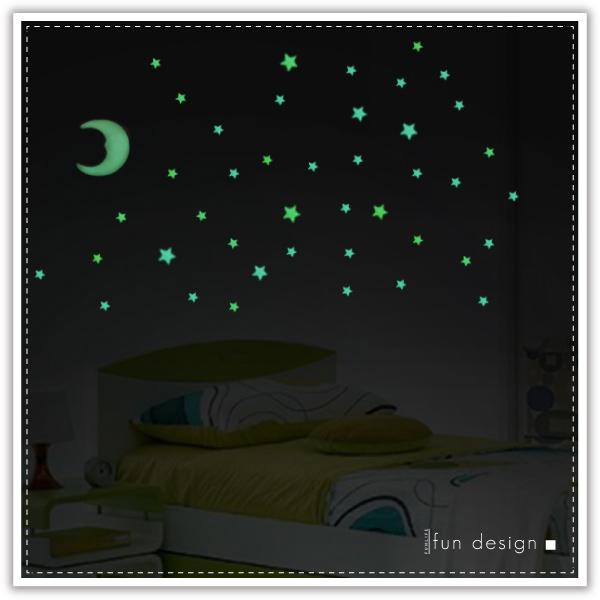 【aife life】月亮星星夜光壁貼/立體星星壁貼/夜光壁貼/夜光貼紙/星空/天花板貼/房間佈置