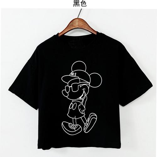 YJY米奇前後燙印短版T恤[J52010]