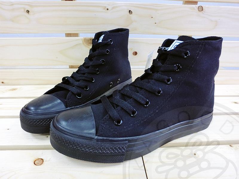 Arriba AB-7055 高筒帆布鞋 休閒鞋 全黑色 女款