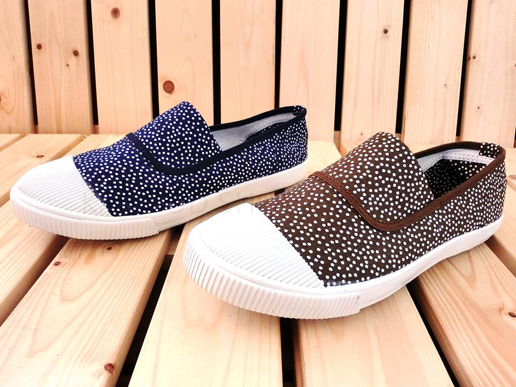 Arriba AB-7066 休閒鞋 懶人鞋 便鞋 帆布鞋 情侶鞋 藍白色款/咖啡色款 女鞋