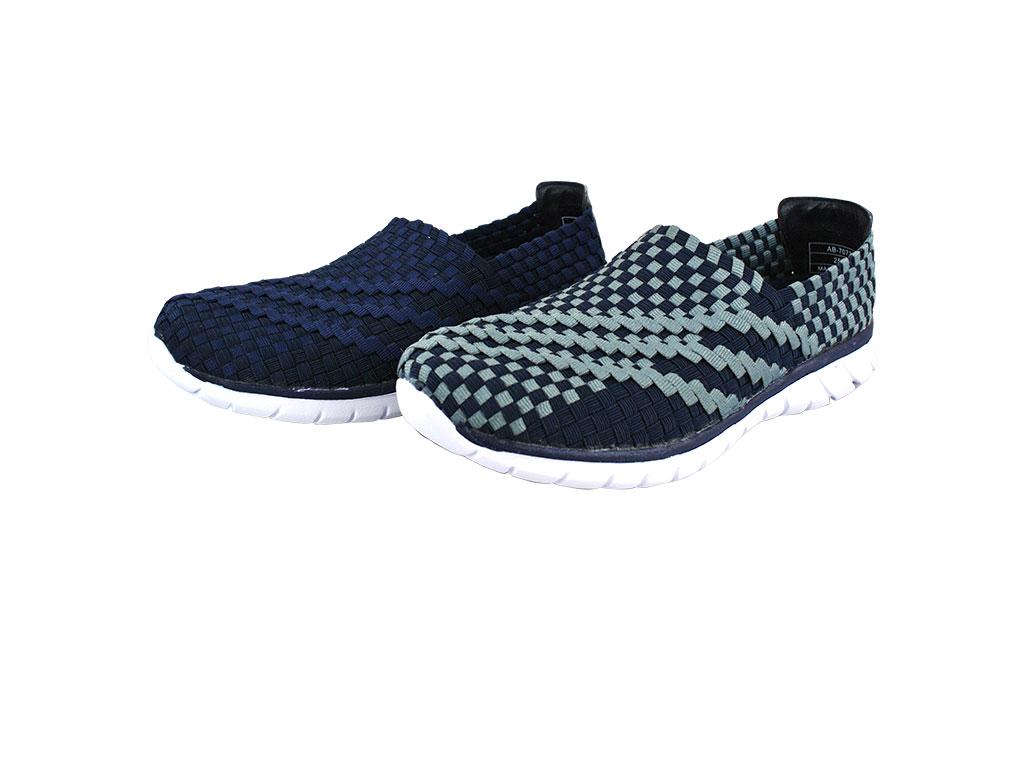Arriba AB-7073  編織鞋面 休閒鞋 懶人鞋 便鞋 灰藍/藍色款 男鞋