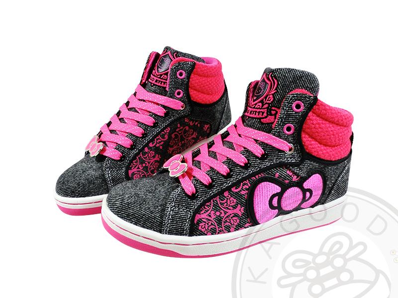 HELLO KITTY 凱蒂貓 910753 蝴蝶結 高筒休閒鞋 板鞋 灰桃&灰紫色款