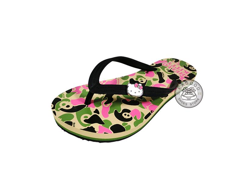 HELLO KITTY 凱蒂貓 914019 迷彩風 海灘拖 人字拖 夾腳拖 拖鞋 綠色款