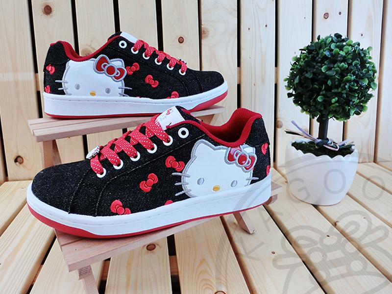 HELLO KITTY 凱蒂貓 914055 牛仔風 蝴蝶結 休閒鞋 板鞋 黑紅色款