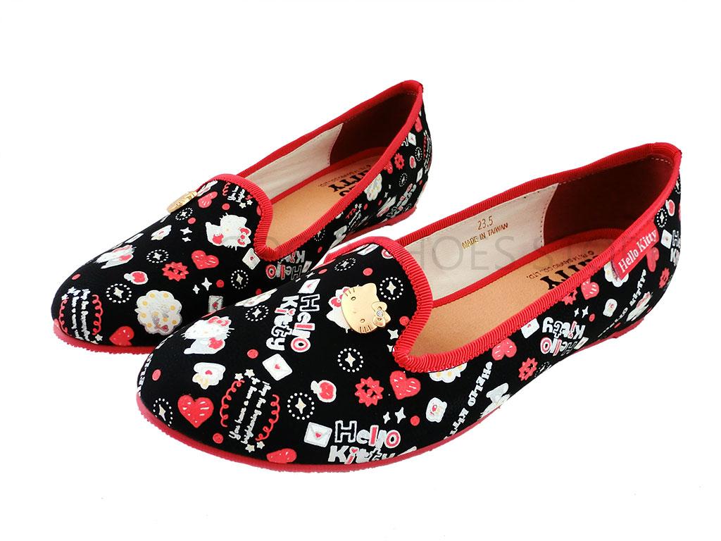 HELLO KITTY 凱蒂貓 914157 復古滿版 便鞋 懶人鞋 娃娃鞋 (黑色)
