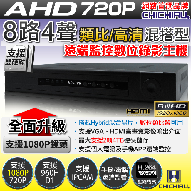 【CHICHIAU】8路AHD 720P混搭型相容數位類比鏡頭 智慧型遠端數位監控錄影機-DVR