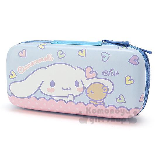 〔小禮堂〕大耳狗 雙拉鍊硬殼筆盒《粉藍.小熊.愛心》可當化妝包
