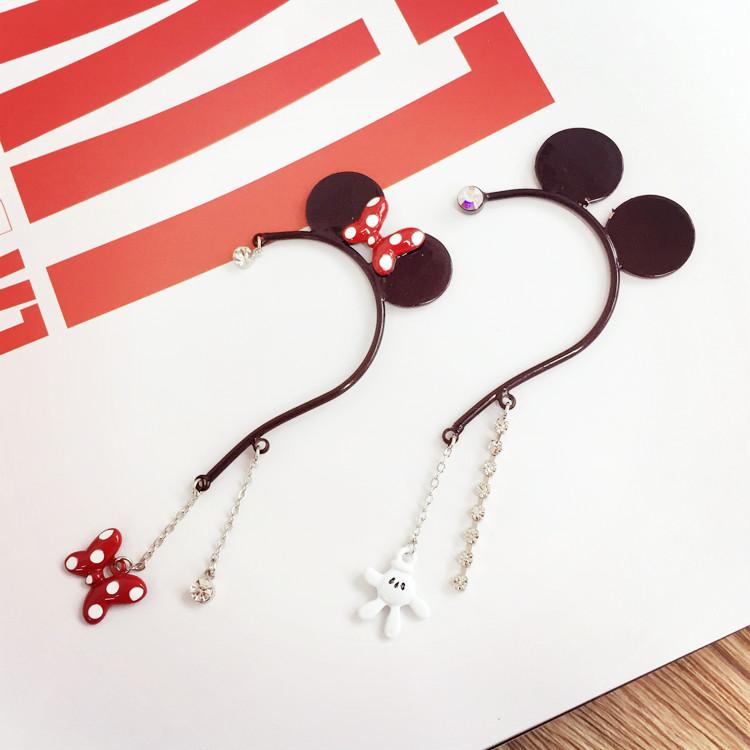 PGS7 日本迪士尼系列商品 - 迪士尼 耳掛式 耳環 米奇 米妮 水鑽耳環