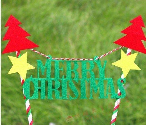 =優生活=【聖誕促銷$99】聖誕節字母聖誕樹蛋糕插旗拉旗拉花裝扮用品 聖誕裝飾 野餐派對 情人節裝飾 聖誕派對 A