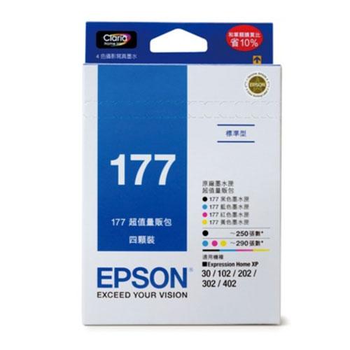 【EPSON 墨水匣】T177650 原廠墨水匣 4色量販包(177) XP-302