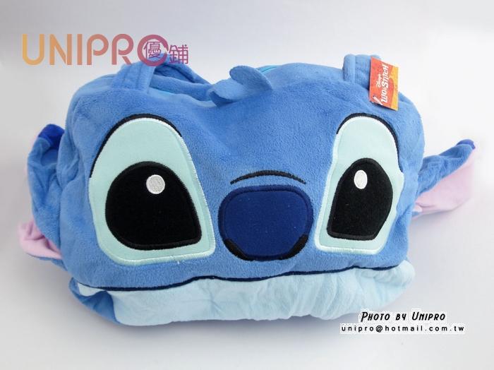 【UNIPRO】迪士尼 史迪奇 STITCH 星際寶貝 絨毛 頭型 造型提袋 購物袋 提袋 手提包