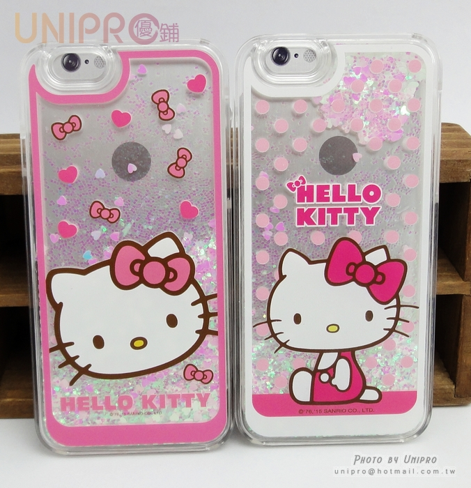 【UNIPRO】韓版 iPhone6 4.7吋 Kitty 凱蒂貓 愛心亮片 液體流沙 手機殼 保護套 KT i6