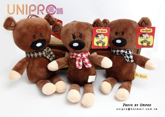 【UNIPRO】Mr. Bean Bear 豆豆熊 豆豆先生 圍巾 熊 絨毛娃娃 玩偶 6吋 禮物 娃娃 正版授權