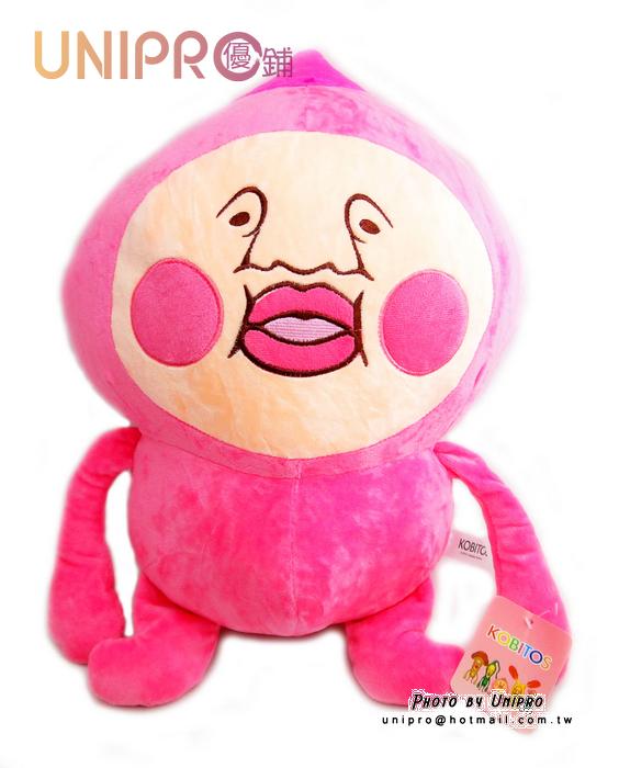 【UNIPRO】農場精靈 KOBITOS 屁桃君 醜比頭 粉屁桃 18吋 電繡 絨毛娃娃 玩偶 正版授權