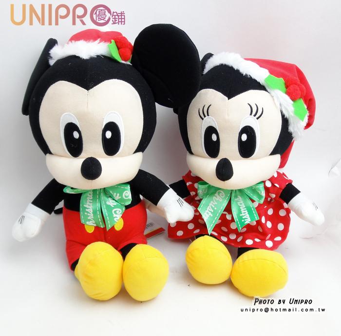 【UNIPRO】迪士尼 正版授權 聖誕 米奇 米妮 唐老鴨 布魯托 蝴蝶結 坐姿 絨毛娃娃 玩偶 禮物 布偶 裝飾偶