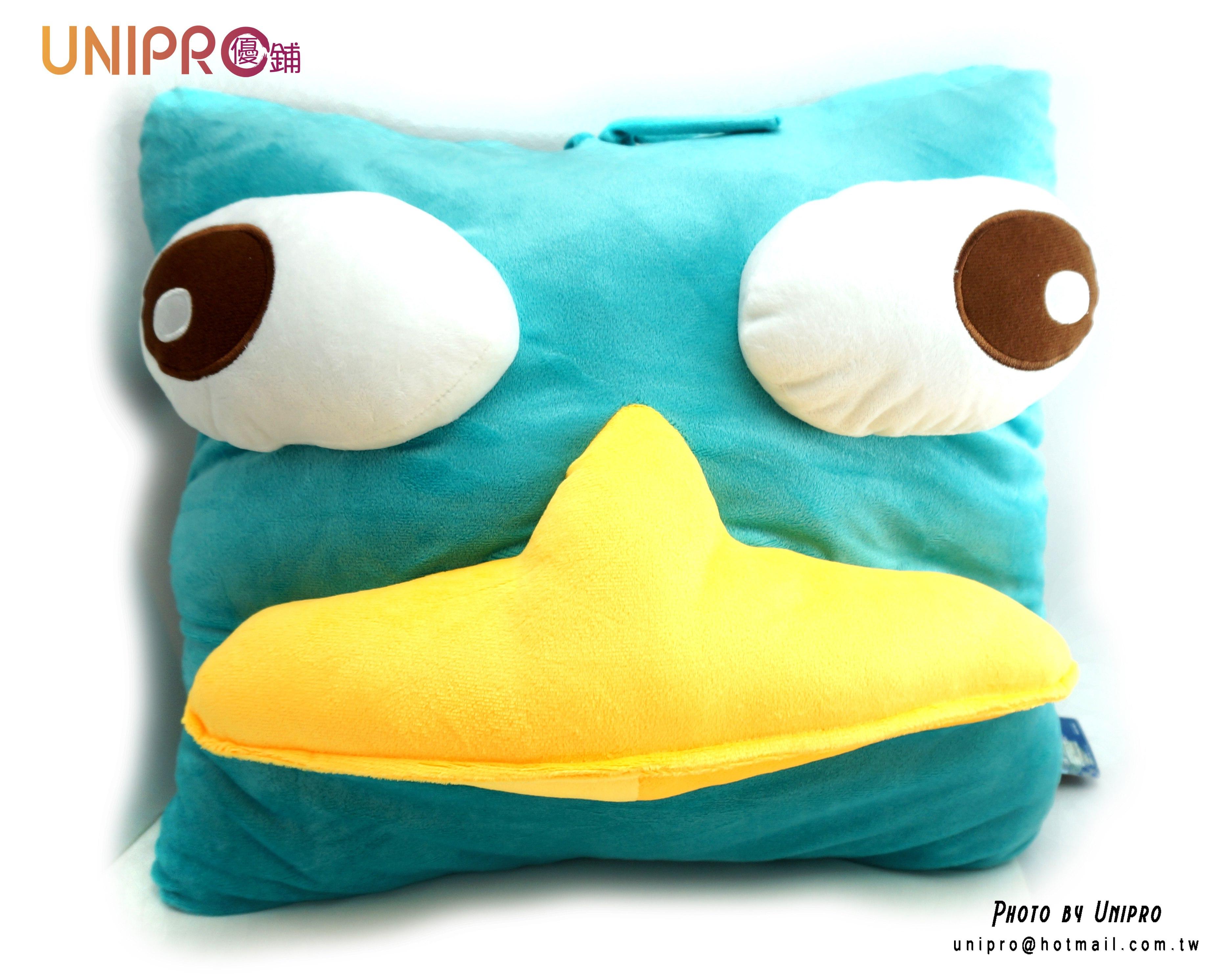 UNIPRO 迪士尼正版授權 飛哥與小佛 鴨嘴獸 泰瑞鴨 特務P 立體方枕 玩偶 娃娃 12吋