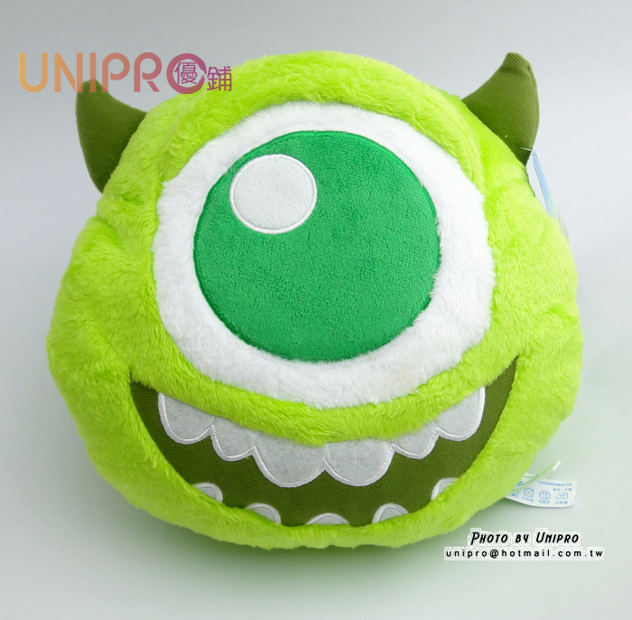 【UNIPRO】怪獸大學 大眼仔12吋 絨毛 頭型 暖手枕 抱枕 娃娃 Michael Mike Wazowski 迪士尼正版授權