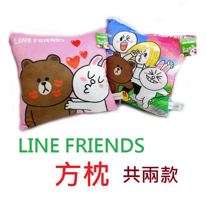 【UNIPRO】LINE FRIENDS 方枕 靠枕 抱枕 熊大 兔兔 饅頭 詹姆士 正版授權 33X33cm