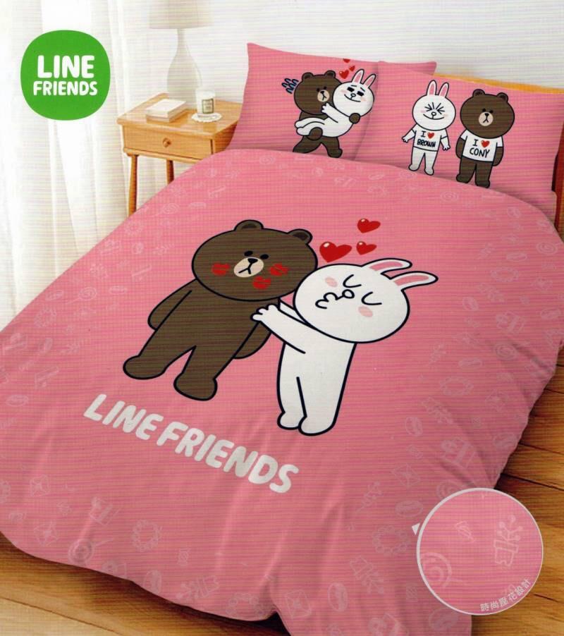 【UNIPRO】LINE FRIENDS 熊大 兔兔 5X6.2尺 雙人床包組(枕頭套X2+床單X1) KISS啾咪 正版授權 台灣精品