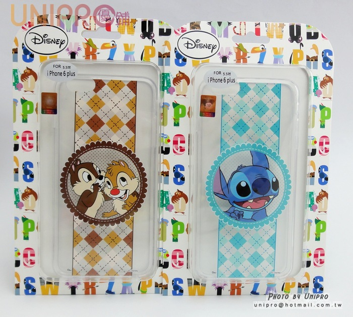 【UNIPRO】迪士尼  iPhone 6 5.5吋 plus  瑪麗貓 奇奇蒂蒂 史迪奇 浪漫風 緞帶TPU透明手機殼 保護套 i6+