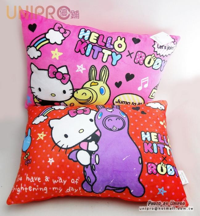 UNIPRO 三麗鷗 正版授權 Hello Kitty 凱蒂貓 RODY跳跳馬造型 中枕 靠枕 抱枕 兒童枕