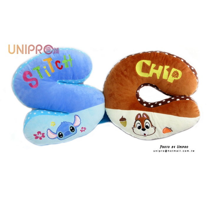 【UNIPRO】迪士尼 12吋 卡通字母抱枕 史迪奇 奇奇蒂蒂