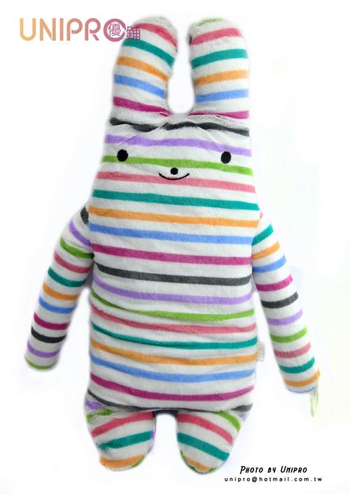【UNIPRO】彩虹兔 綿綿兔 長型抱枕 絨毛娃娃 70CM 抱枕