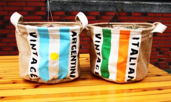 UNIPRO 【L049】日雜風 復古棉麻國旗 雜物收納 玩具籃 盆栽籃 義大利 阿根廷20X24CM