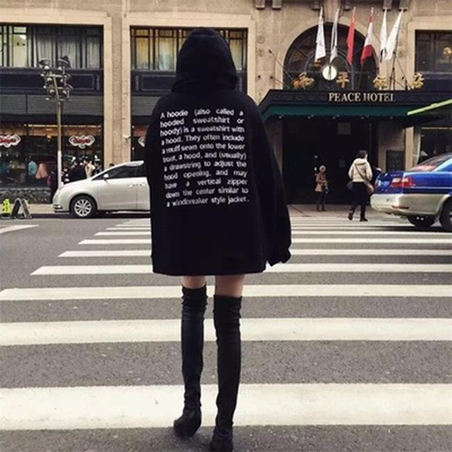 50%OFF【G019343C】韓國ulzzang古著原宿oversize寬鬆街拍套頭加絨-長袖T洋裝羽絨外套針織衫毛衣一字領大學t