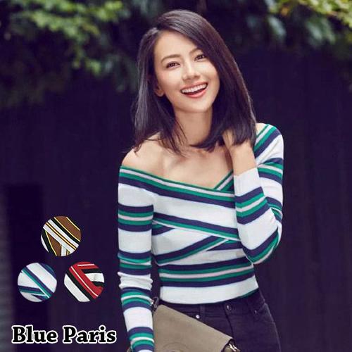 上衣 - 條紋撞色交叉一字領針織長袖T恤【29170】藍色巴黎《3色》現貨 + 預購