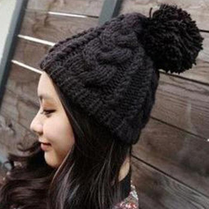 糖衣子輕鬆購【DS192】韓版潮流8字麻花大毛球男女情侶針織帽毛線帽