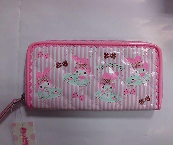 【真愛日本】11111000030 長夾-午茶點點緞帶粉 三麗鷗家族 Melody 美樂蒂 皮夾 錢包 日本正品