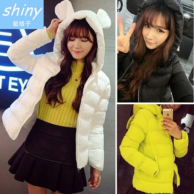 【V0335】shiny藍格子-可愛暖冬‧甜美小高領保暖棉襖短版連帽外套