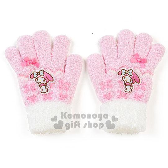〔小禮堂〕美樂蒂  兒童保暖手套《粉白.站姿.緞帶》秋冬禦寒小物